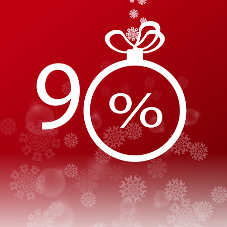 Christmas sale design template. 90 percent discount. EPS10 vector illustration. Vettoriali