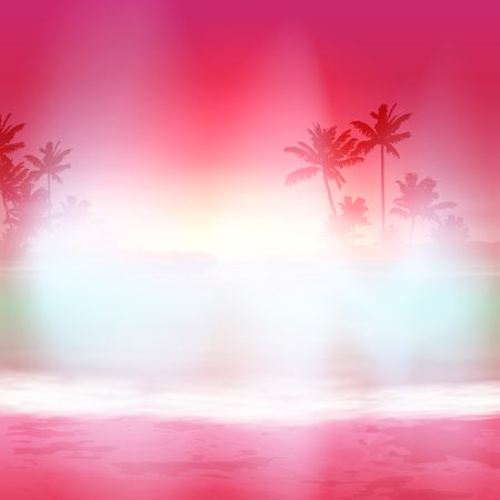 Background with sea and palm trees. Sunset time. Illustration