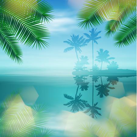 Mer avec île et palmiers.
