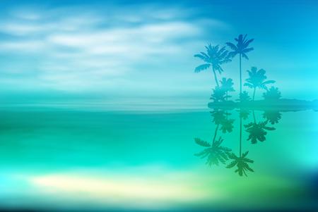 Mer avec île et palmiers. Vecteurs