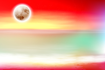 Colorful purple beach with full moon at night