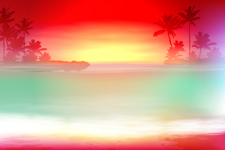 Colorful background with sea and palm trees
