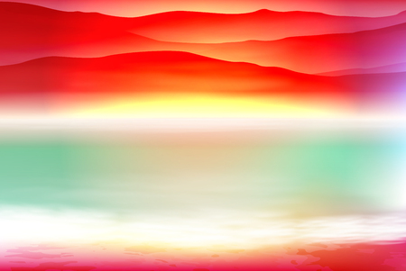 Colorful background with sea and mountain