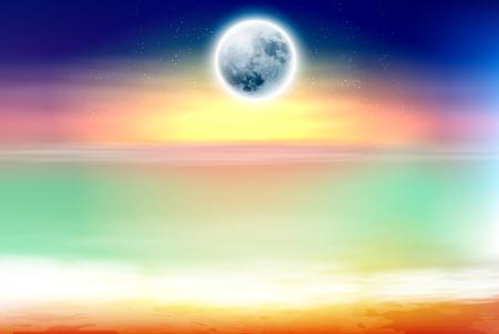 Colorful beach with full moon at night Ilustração