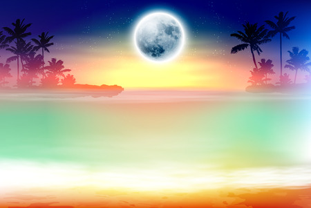 Colorful beach with palm trees and full moon