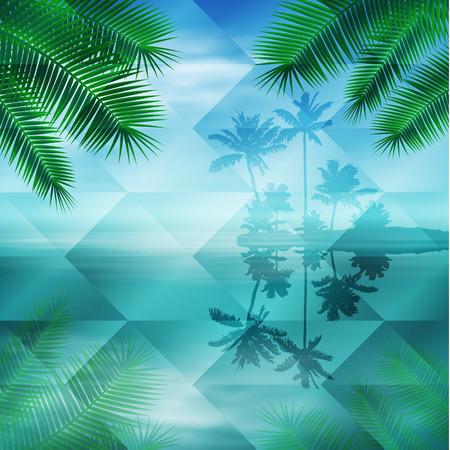 Sea with island. Geometric background.