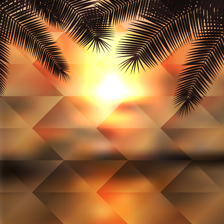 Sea sunset with palmtree. Geometric background. Иллюстрация