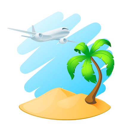 Palm tree island and airplane