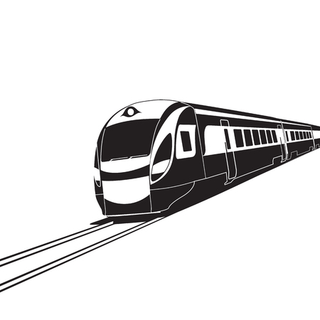 High speed train on white background