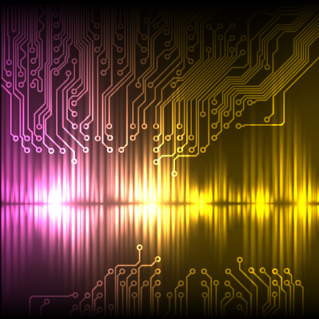 Purple-yellow wave abstract equalizer and circuit. Stock Photo