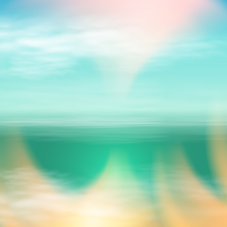 Sea summer landscape in sunny day. Blue background. EPS10 vector.