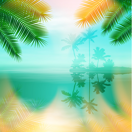 Sea with island and palm trees. Tropical summer blue background. EPS10 vector.