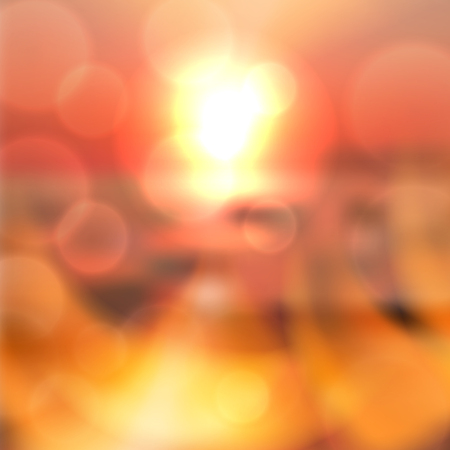 Blurred summer sea sunset background with light on lens. Red summer background. EPS10 vector.