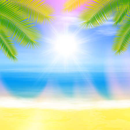 Beach and tropical sea with palmtree leaves. Summer colorful background. EPS10 vector.
