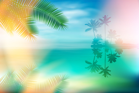Summer sea with island and palm trees and palm leaves. EPS10 vector. Vecteurs