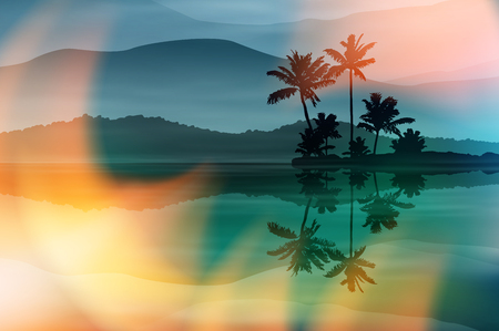 Summer background with sea and palm trees at night. EPS10 vector.