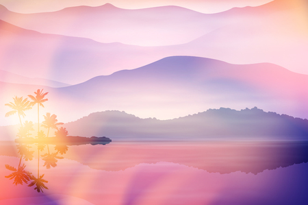 Purple summer background with sea and palm trees at night. EPS10 vector.