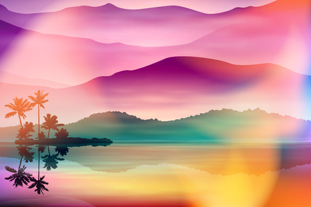 Colorful summer background with sea and palm trees. Sunset time. EPS10 vector. Illustration