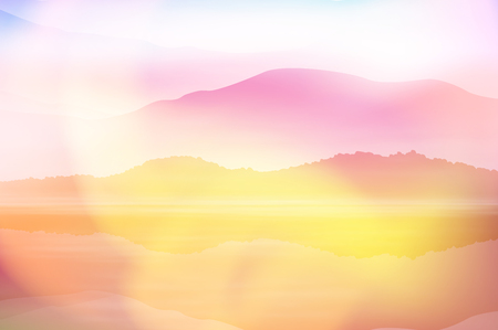 Summer background with sea and mountain. Sunset time. EPS10 vector.