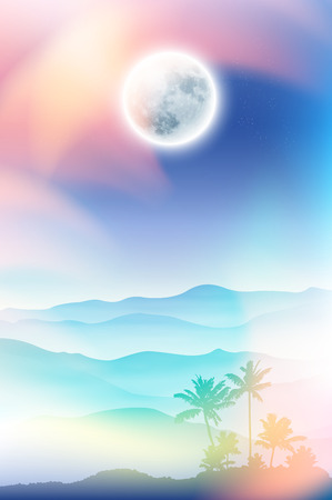 Summer background with fullmoon and palm tree and mountains in the fog. EPS10 vector.