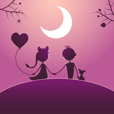 Silhouettes of a boy with pet and a girl with balloon walking in the moonlight. Love concept. Design for card. Valentines day.