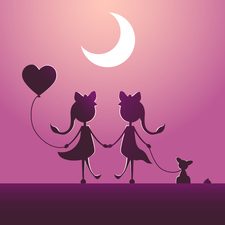 Silhouettes of LGBT couple walking in the moonlight. Ilustrace