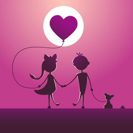 Silhouettes d'un garçon et d'une fille marchant au clair de lune. Vecteurs