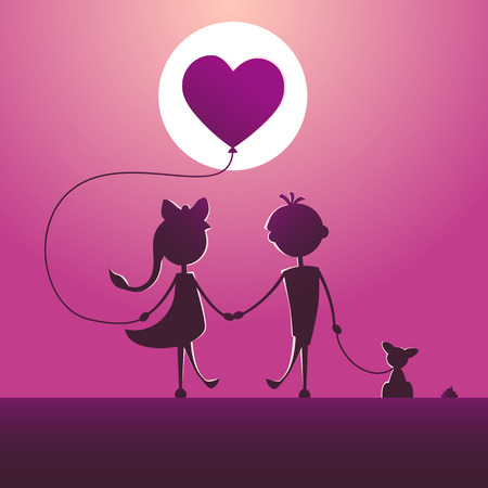 Silhouettes of a boy and a girl walking in the moonlight. Illustration