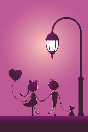 Silhouettes of a boy with pet and a girl with balloon walking in the street light. Love concept. Design for card. Valentines day. Ilustração