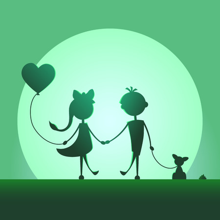 Silhouettes of a boy with pet and a girl with balloon walking in the moonlight. Love concept. Design for card. Valentines day. Green background.