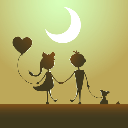 Silhouettes of a boy with pet and a girl with balloon walking in the moonlight. Love concept. Design for card. Valentines day. Yellow background. Illustration