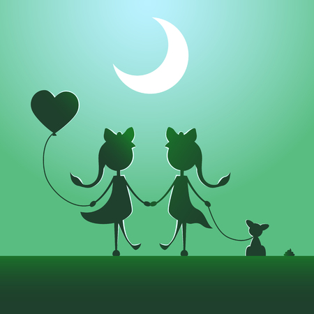 Silhouettes of LGBT couple walking in the moonlight. Illustration