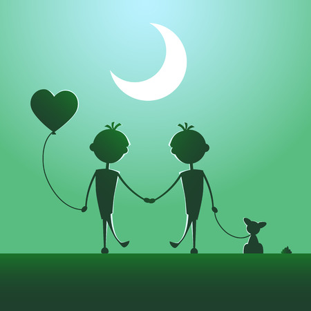 Silhouettes of LGBT couple walking in the moonlight. 矢量图像