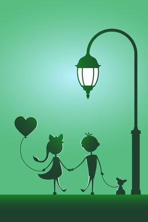 Silhouettes of a boy with pet and a girl with balloon walking in the street light. Love concept. Design for card. Valentines day. Green background.