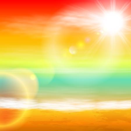 Sea sunset with bright sun, light on lens. EPS10 vector. Векторная Иллюстрация