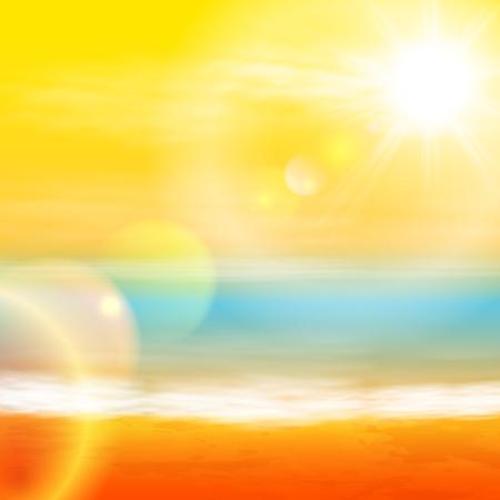 Sea sunset with bright sun, light on lens. EPS10 vector. Ilustrace