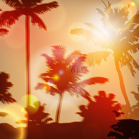 Sea sunset with island and palm trees. EPS10 vector. Иллюстрация