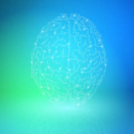Digital brain on blue background. Artificial Intelligence concept.