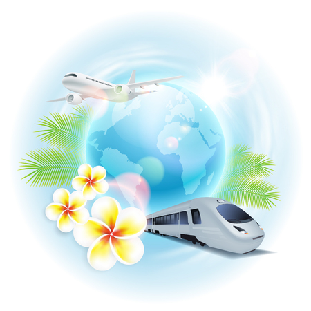 Concept travel illustration with airplane, train, globe, flowers and palm leaves. EPS10 vector.