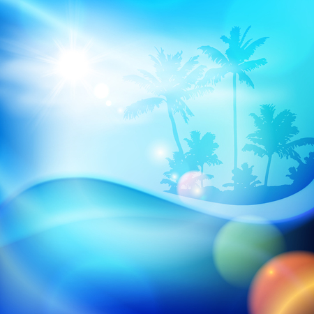 Water wave and island with palm trees in sunny day. EPS10 vector. Illustration
