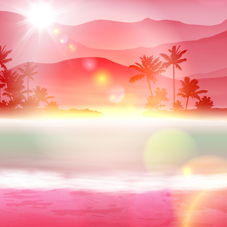 Background with sea and palm trees. Sunset time. Stock Photo