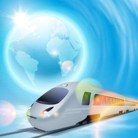 Concept background with high-speed train, the globe and brigh sun with lens flare. EPS10 vector. Vektoros illusztráció