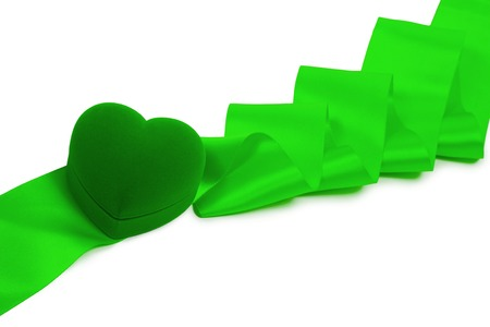 Gift heart ring box, green ribbon isolated on white background