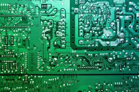 Foto de la parte posterior de una placa de circuito. Foto de archivo