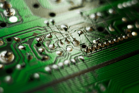 Macro shot of the back side of a circuit board Imagens