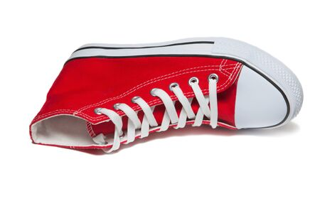 Red sport shoes isolated on white background Stock Photo