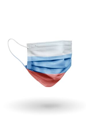 Surgical face mask with pattern flag Russia isolated on white