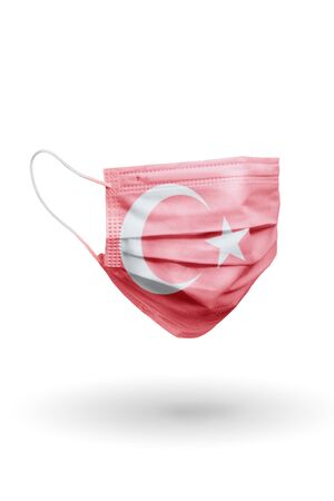 Surgical face mask with pattern flag Turkey isolated on white Stok Fotoğraf