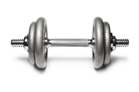 Metal dumbbell for fitness with chrome silver handle isolated on white