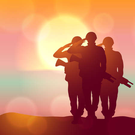 Silhouette of a soliders saluting against the sunrise. Concept - protection, patriotism, honor. Armed forces of Turkey, Israel, Egypt. EPS10 vector.